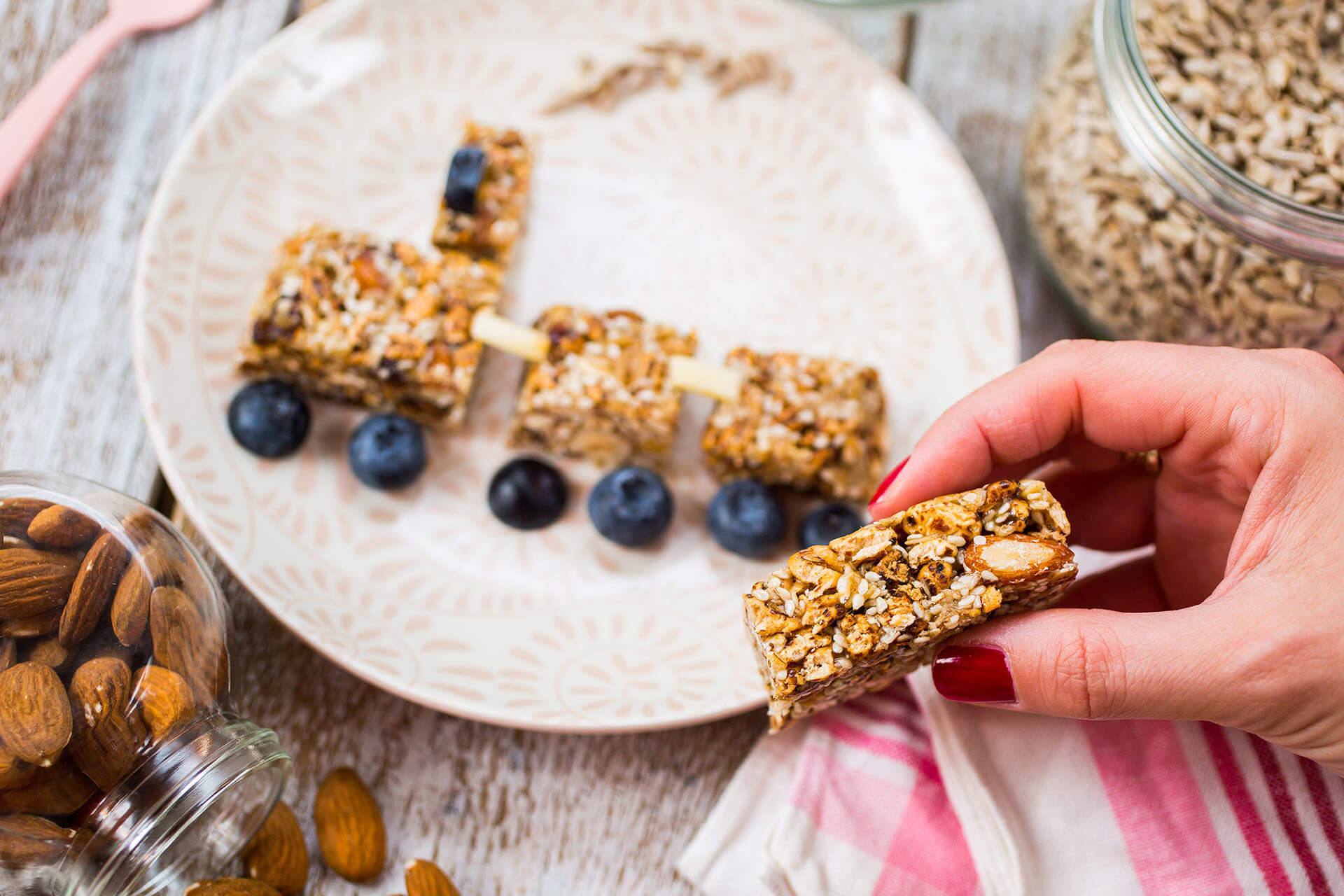 homemade oatmeal bars with blueberries